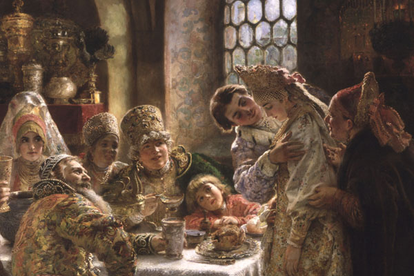 A detail from the painting A Boyar Wedding Feast, by Konstantin Makovsky, on view at Hillwood Estate, Museum & Gardens