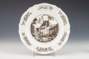 """PLATE FROM A SERVICE WITH CHRISTIAN SCIENCE IMAGERY (""""SANITORIUM OF CHRISTIAN SCIENCE BENEVOLENT ASSOCIATION ON PACIFIC COAST, SAN FRANCISCO""""), ONE OF EIGHT"""