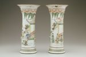 Beaker Vase with Scene from the Romance of the Western Chamber (one of two)