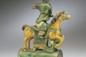 TABLE LAMP WITH GUANDI, DAOIST GOD OF WAR, ROOF TILE