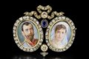 Brooch with Miniatures of Nicholas II and Alexandra