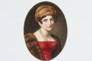 COUNTESS MARIE-CHARLOTTE-ALBERTINE DE LA FERRONNAYS, NÉE DU BOUCHET DE SOURCHES DE MONTSOREAU, FROM THE MIDDLETON WATERCOLOR ALBUM
