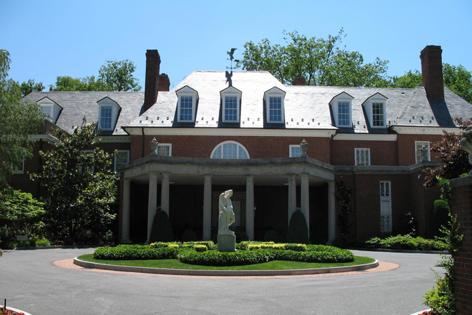 The North facade and motor court at Hillwood